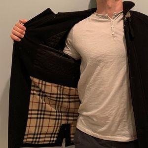 Men's Burberry black wool coat size L